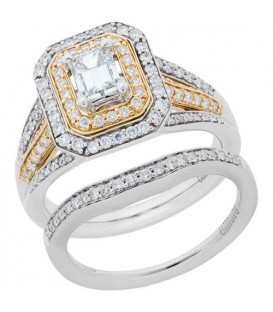 1.15 Carat Diamond Ring Bridal Set 18Kt Two-Tone Gold