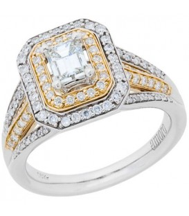 1.01 Carat Emerald Cut Diamond Ring 18Kt Two-Tone Gold