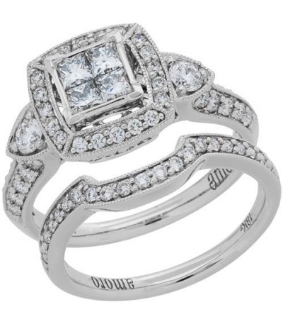 Rings - 1.15 Carat Princess Cut Diamond Ring Bridal Set 18Kt White Gold