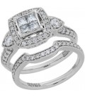 1.15 Carat Princess Cut Diamond Ring Bridal Set 18Kt White Gold
