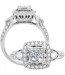 Rings - 1 Carat Princess Cut Diamond Ring 18Kt White Gold