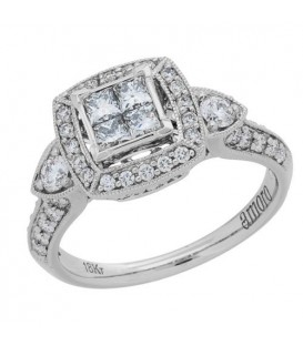 1 Carat Princess Cut Diamond Ring 18Kt White Gold