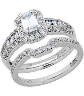 Rings - 1.15 Carat Emerald Cut Diamond Ring Bridal Set 18Kt White Gold