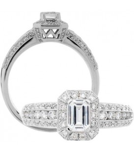 More about 1.01 Carat Emerald Cut Diamond Ring 18Kt White Gold