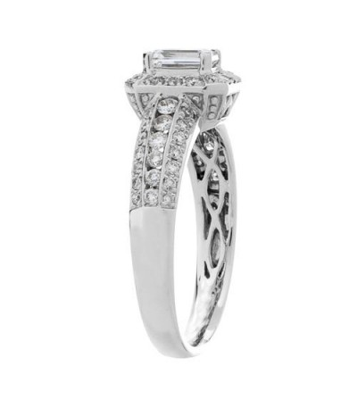 1.01 Carat Emerald Cut Diamond Ring 18Kt White Gold