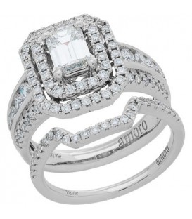 Rings - 1.65 Carat Emerald Cut Diamond Ring Bridal Set 18Kt White Gold