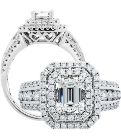 Rings - 1.50 Carat Emerald Cut Diamond Ring 18Kt White Gold