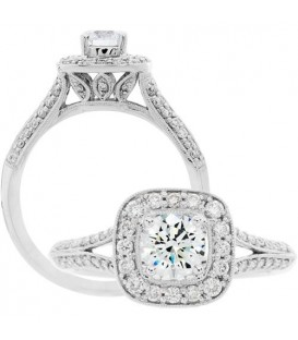 Rings - 0.88 Carat Round Brilliant Diamond Ring 18Kt White Gold
