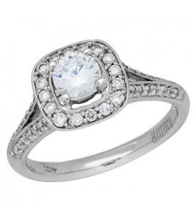 0.88 Carat Round Brilliant Diamond Ring 18Kt White Gold