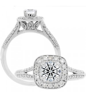 Rings - 0.88 Carat Round Brilliant Eternitymark Diamond Ring 18Kt White Gold