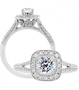 Rings - 0.88 Carat Round Brilliant Pristine Hearts Diamond Ring 18Kt White Gold