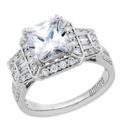 1.64 Carat Princess Cut Diamond Ring 18Kt White Gold