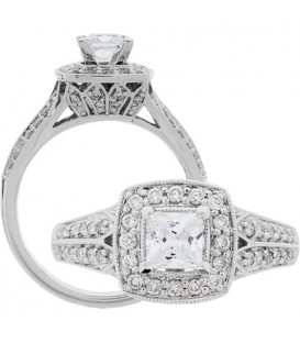 Rings - 0.88 Carat Princess Cut Diamond Ring 18Kt White Gold
