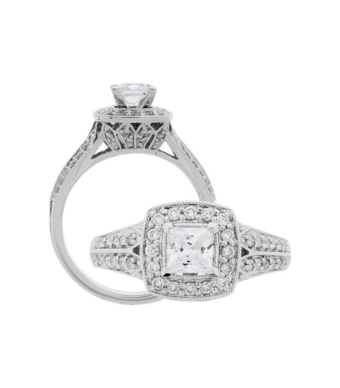 princess cut 0 88ct ring in 18kt white gold amoro