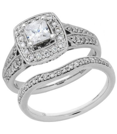 Rings - 1.01 Carat Eternitymark Diamond Bridal Set 18Kt White Gold