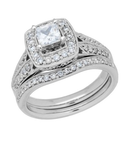 1.01 Carat Eternitymark Diamond Bridal Set 18Kt White Gold
