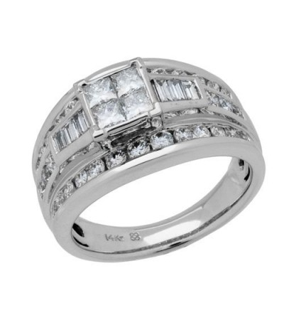 Rings - 0.50 Carat Multiple Princess Cut Diamond Ring in 18Kt White Gold
