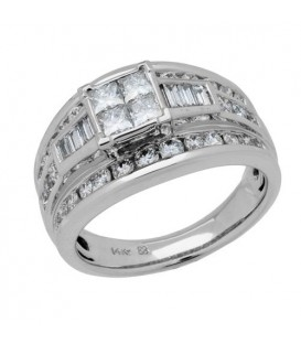 1.50 Carat Multiple Princess Cut Diamond Ring in 18Kt White Gold