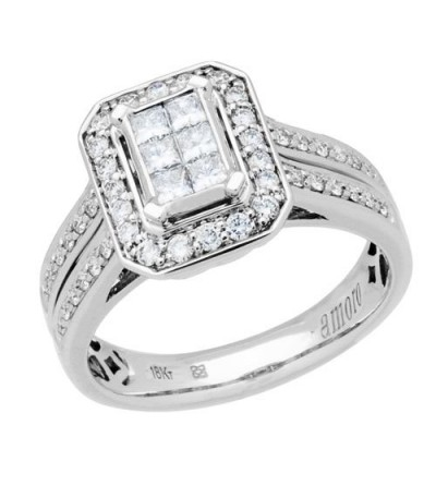 Rings - 0.33 Carat Multiple Princess Cut Diamond Ring in 18Kt White Gold