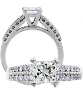 1.51 Carat Princess Cut Diamond Ring 18Kt White Gold