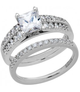 Rings - 1.58 Carat Eternitymark Diamond Bridal Set 18Kt White Gold