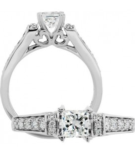 0.76 Carat Princess Cut Diamond Ring 18Kt White Gold