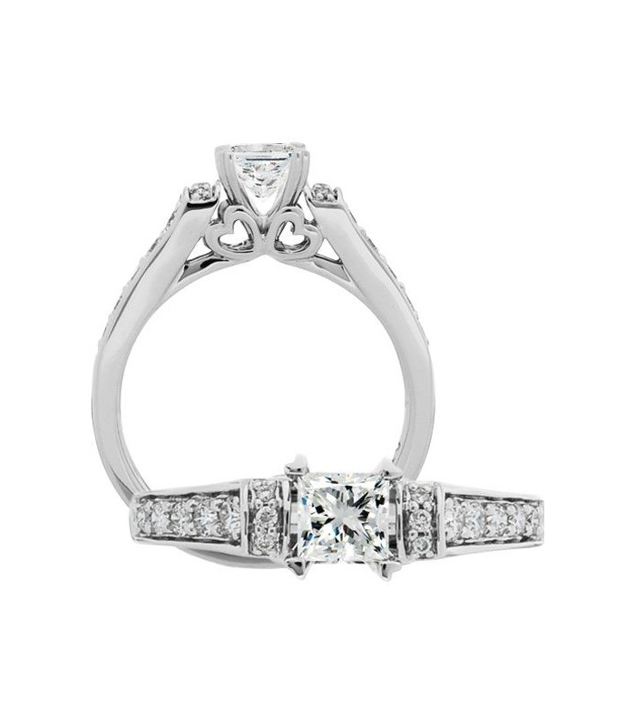 Princess Cut 0 76ct Diamond Ring In 18kt White Gold Amoro