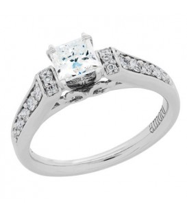 0.76 Carat Princess Cut Eternitymark Diamond Ring 18Kt White Gold