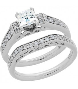 Rings - 0.76 Carat Eternitymark Diamond Bridal Set 18Kt White Gold