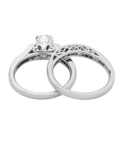 0.96 Carat Eternitymark Diamond Bridal Set 18Kt White Gold
