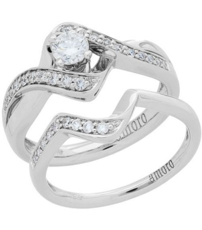 Rings - 0.53 Carat Round Brilliant Diamond Ring Bridal Set 18Kt White Gold