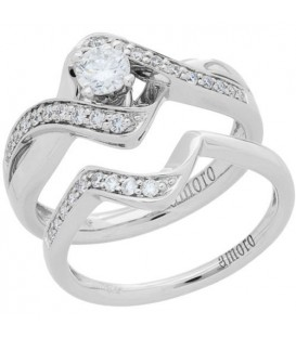 0.53 Carat Round Brilliant Diamond Ring Bridal Set 18Kt White Gold