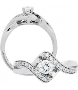 Rings - 0.66 Carat Round Brilliant Diamond Ring 18Kt White Gold