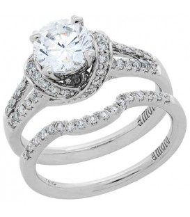 Rings - 1.08 Carat Eternitymark Diamond Bridal Set 18Kt White Gold
