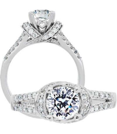 Rings - 1.13 Carat Round Brilliant Pristine Hearts Diamond Ring 18Kt White Gold