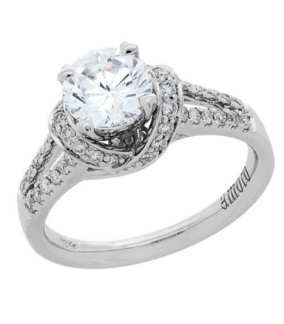 1.13 Carat Round Brilliant Pristine Hearts Diamond Ring 18Kt White Gold