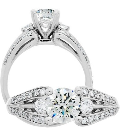 Rings - 1.13 Carat Round Brilliant Diamond Ring 18Kt White Gold