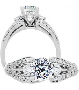 Rings - 1.12 Carat Round Brilliant Pristine Hearts Diamond Ring 18Kt White Gold