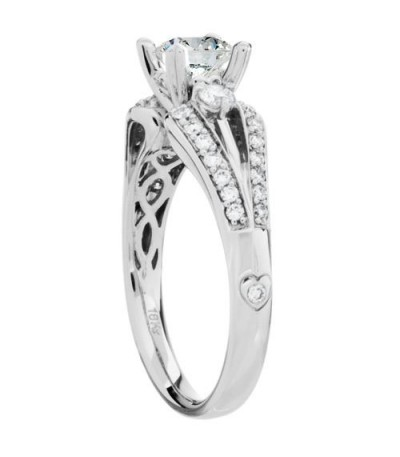 1.12 Carat Round Brilliant Pristine Hearts Diamond Ring 18Kt White Gold