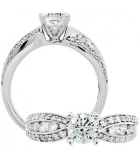 Rings - 1.30 Carat Round Brilliant Diamond Ring 18Kt White Gold