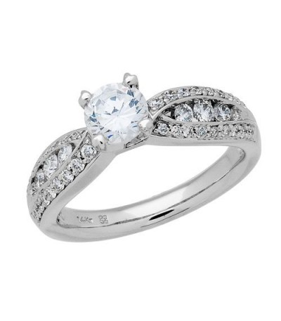 1.30 Carat Round Brilliant Diamond Ring 18Kt White Gold
