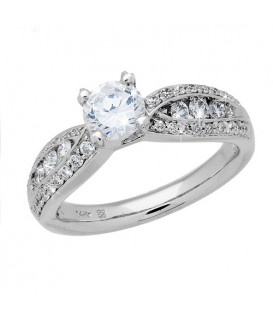 Rings - 1.26 Carat Round Brilliant Eternitymark Diamond Ring 18Kt White Gold