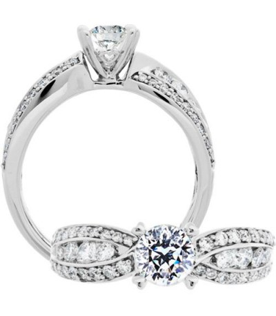 Rings - 1.30 Carat Round Brilliant Pristine Hearts Diamond Ring 18Kt White Gold