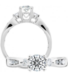 Rings - 0.73 Carat Round Brilliant Eternitymark Diamond Ring 18Kt White Gold