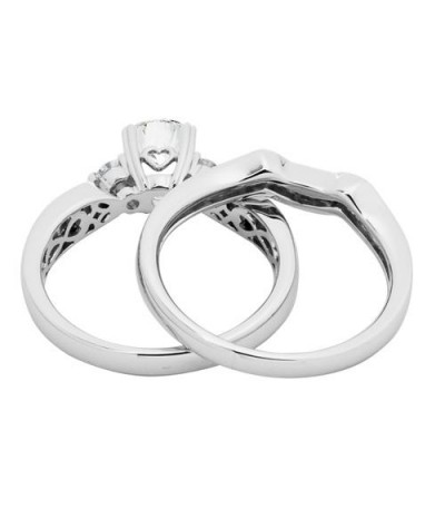 0.87 Carat Eternitymark Diamond Bridal Set 18Kt White Gold