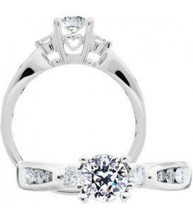 More about 0.75 Carat Round Brilliant Pristine Hearts Diamond Ring 18Kt White Gold