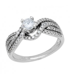 0.71 Carat Round Brilliant Diamond Ring 18Kt White Gold