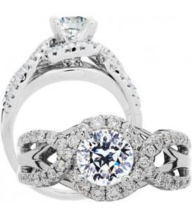 Rings - 1.50 Carat Round Brilliant Pristine Hearts Diamond Ring 18Kt White Gold