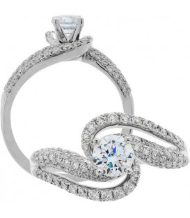 Rings - 1.05 Carat Round Brilliant Diamond Ring 18Kt White Gold