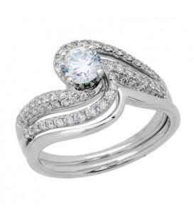 Rings - 1.05 Carat Eternitymark Diamond Bridal Set 18Kt White Gold